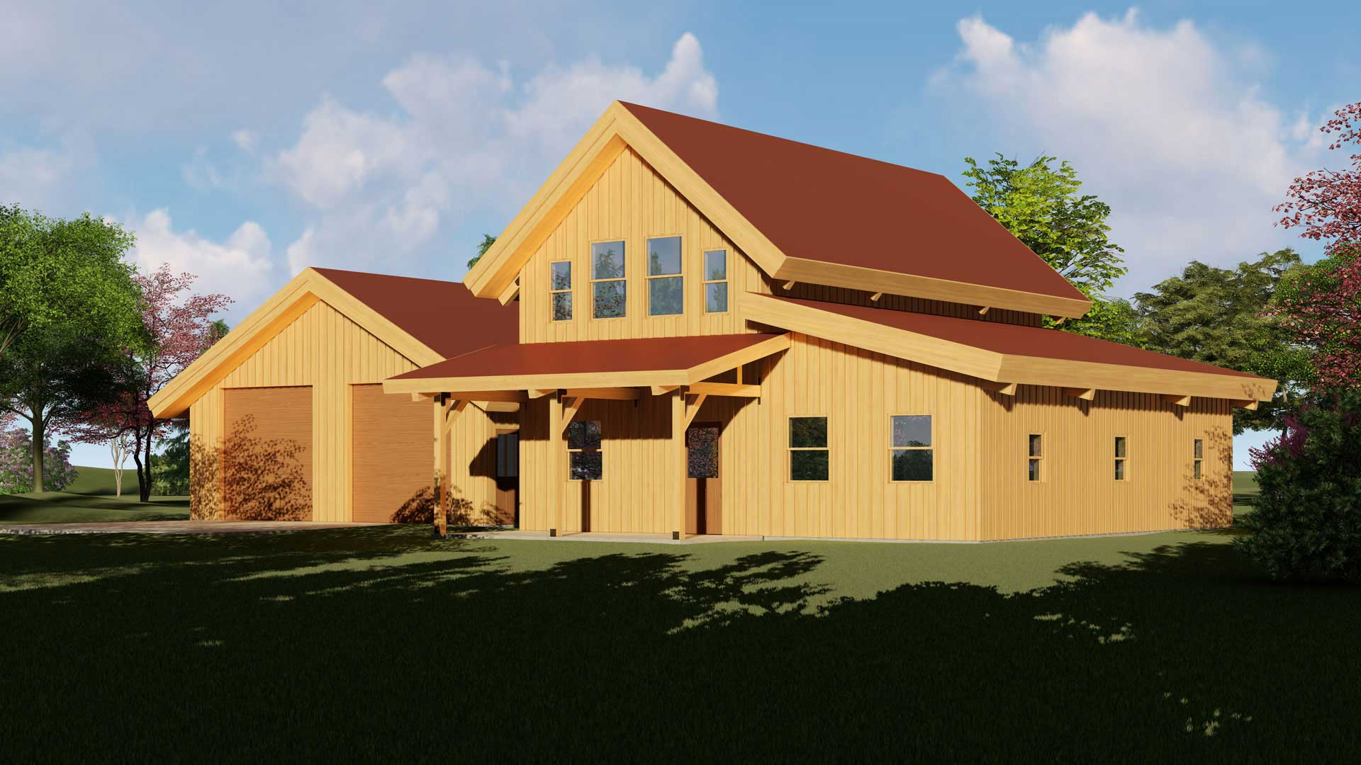 house kit post and beam barn home with attached garage