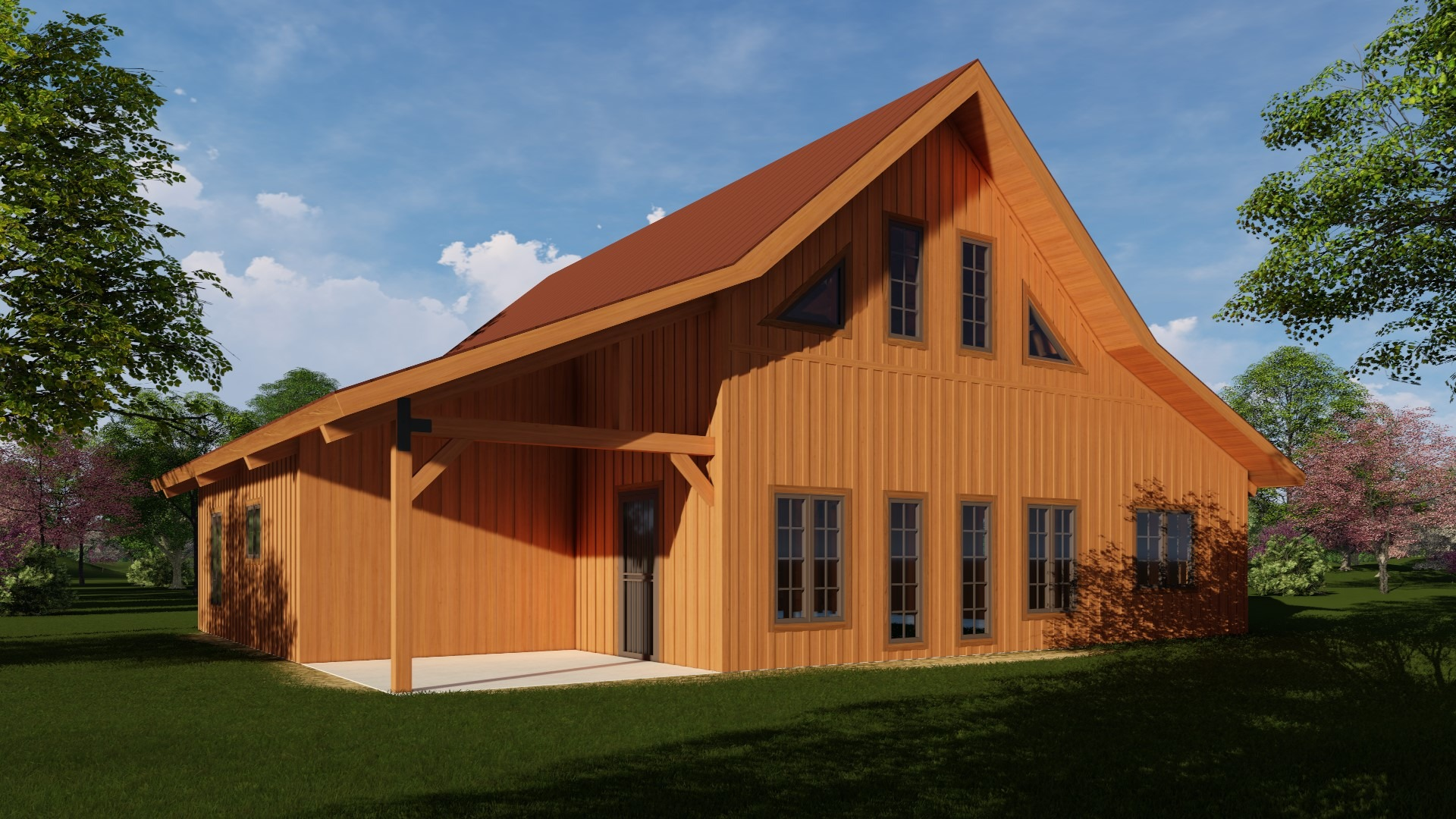 post and beam barn home kit with gable roof line and picture windows