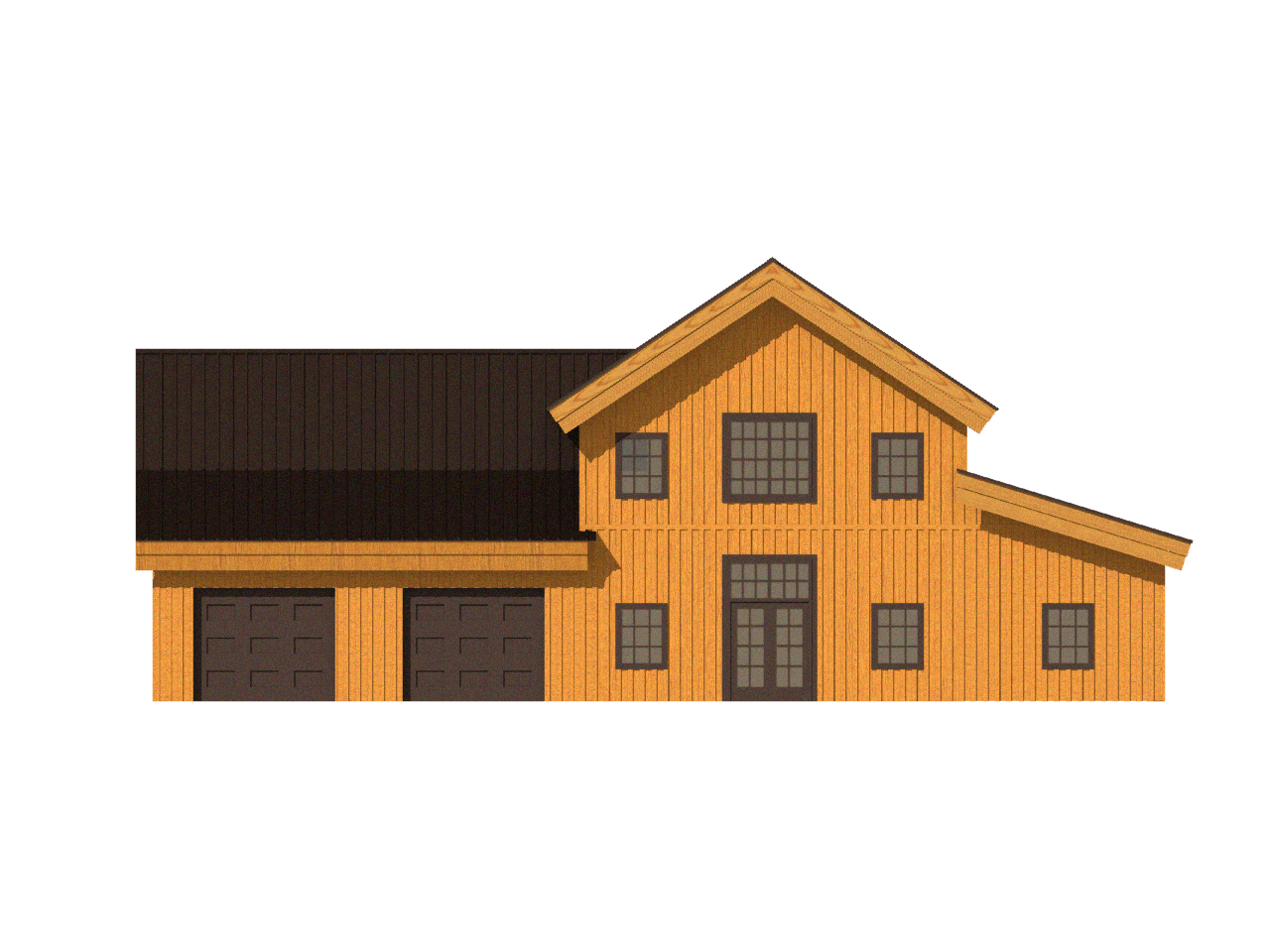post and beam home combination roofline 2d