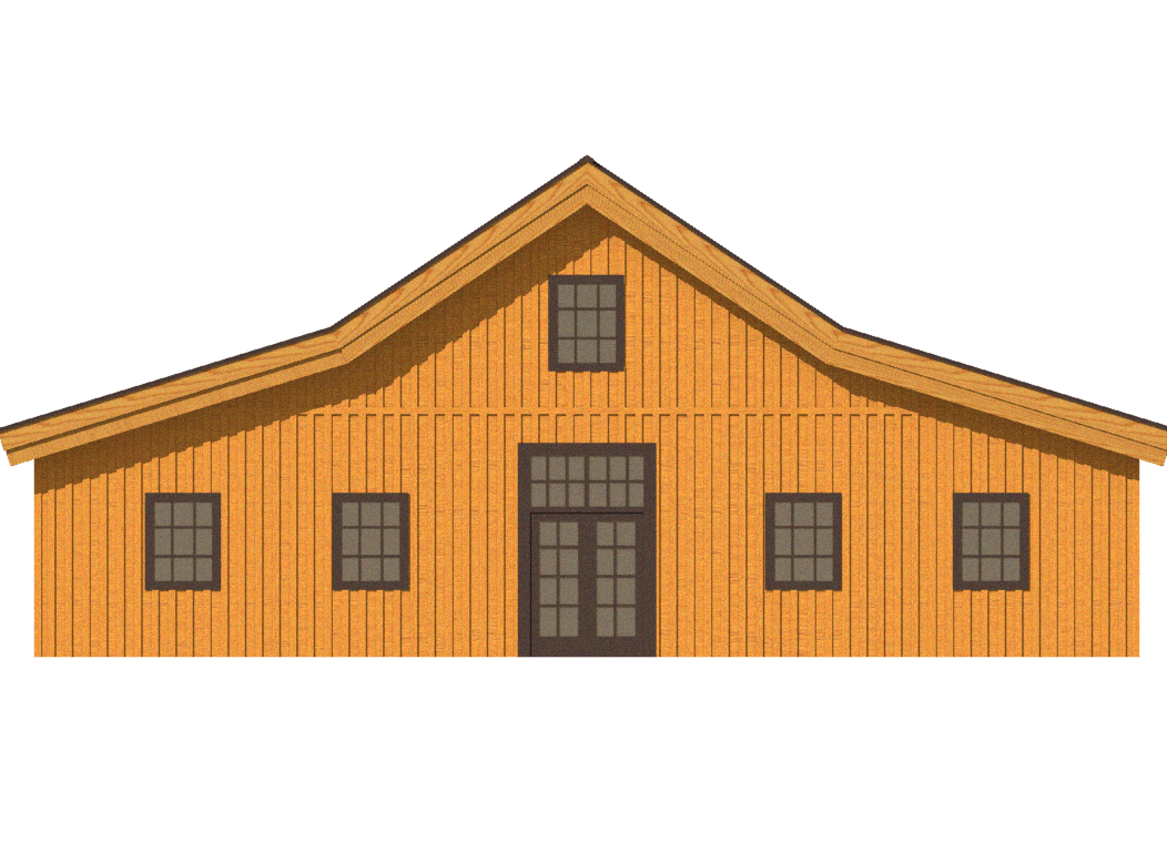 barn house 2d rendering gable roofline