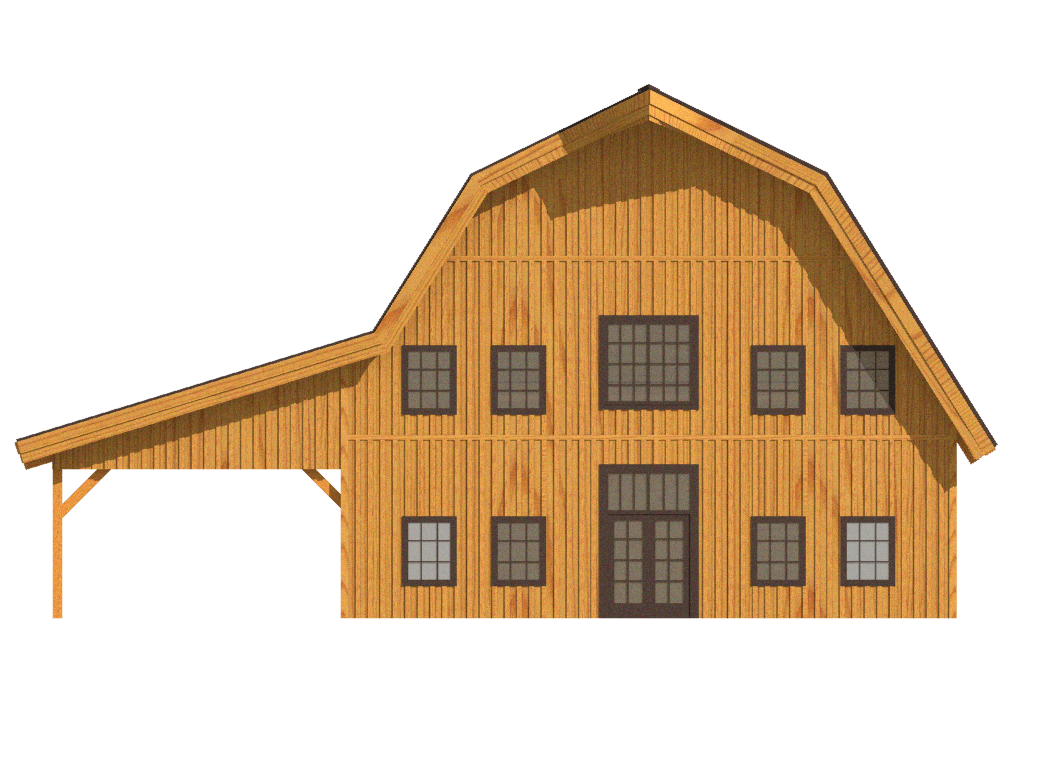 barn home gambrel roofline 2d