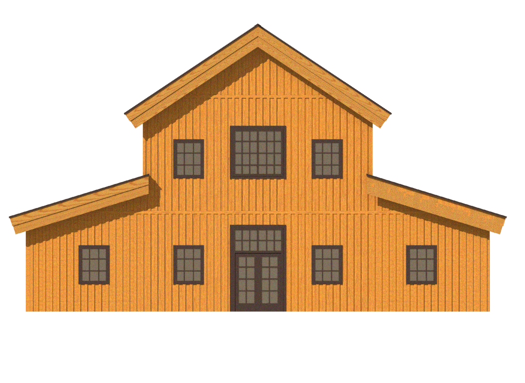 post and beam home 2D rendering or raised center monitor roof line