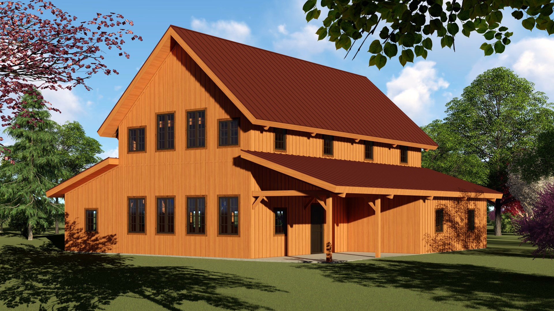 barn home post and beam raised center with picture windows and covered porch