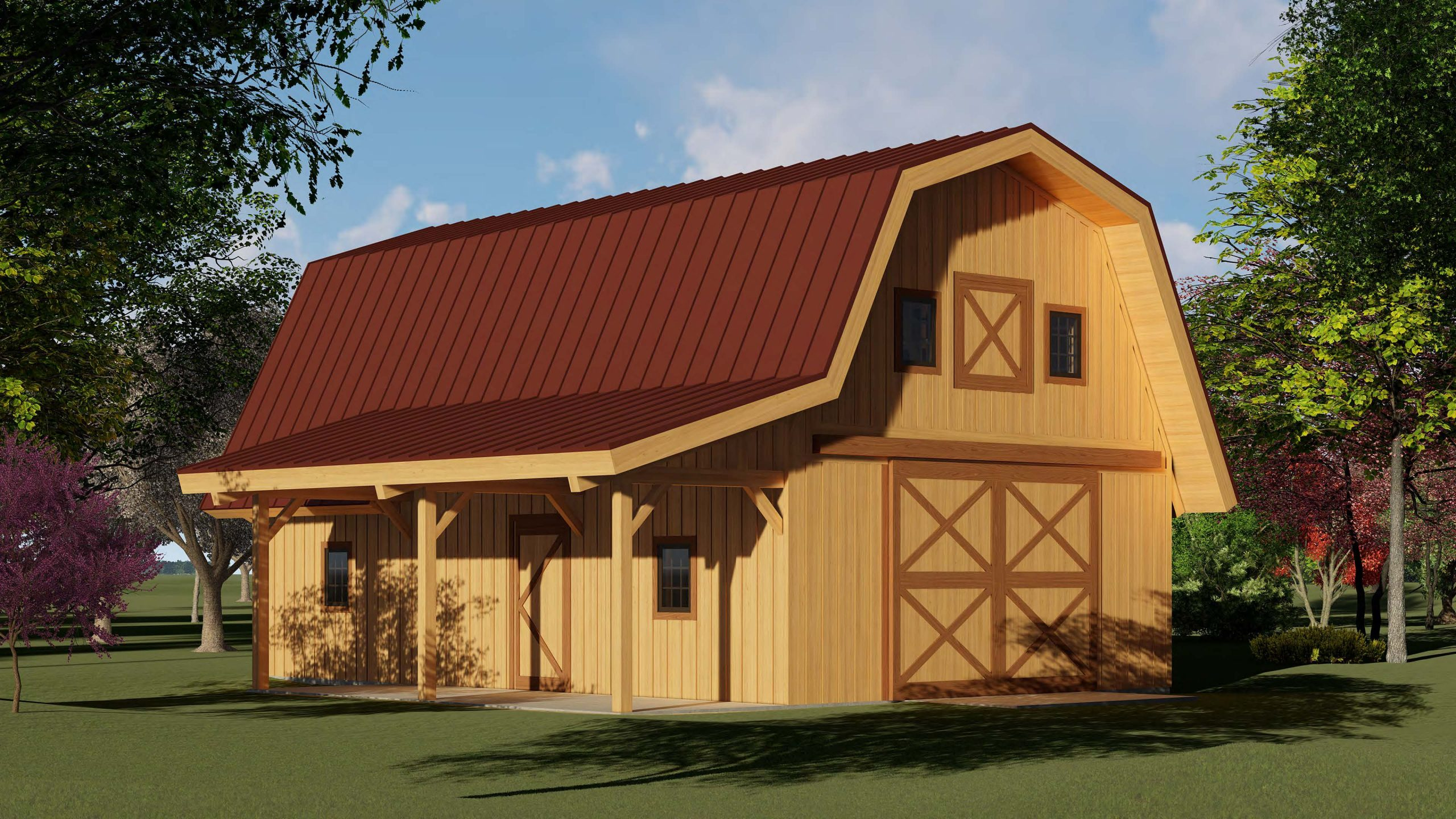 pre fab post and beam gambrel barn kit