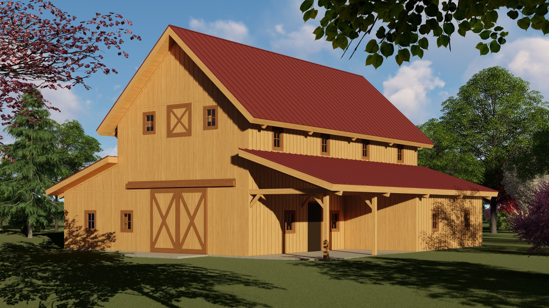 post and beam pre-designed barn kit raised center